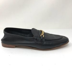 Topshop Sz 41 US 10.5 Black Leather Loafers Chain